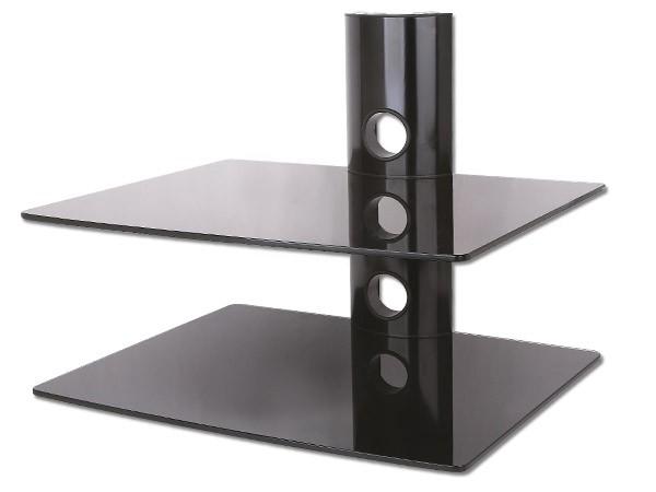 wandhalterung f r dvd bluray player konsole boxen ablage 2 glasb den schwarz glas modell gl11bb. Black Bedroom Furniture Sets. Home Design Ideas